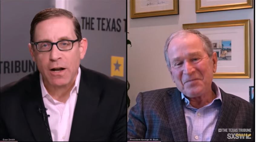 Screen grab from former president George W. Bush's interview, streamed March 18, 2021, with Texas Tribune CEO Evan Smith. The interview was recorded Feb. 24 for the South by Southwest 2021 Online festival.
