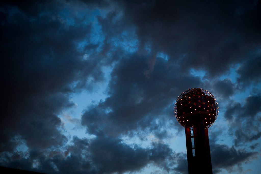 Clouds roll over Reunion Tower just after sunset on Wednesday, March 29, 2017, in Dallas.