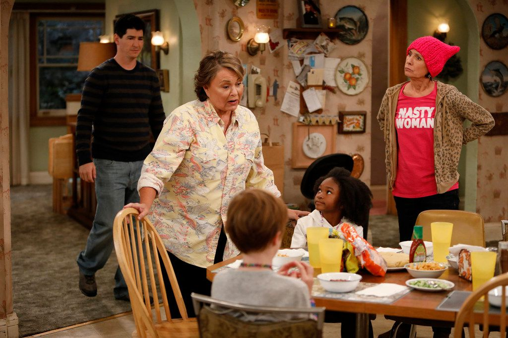 Roseanne finds herself at political odds with her sister, Jackie (Laurie Metcalf) in the rebooted Roseanne.