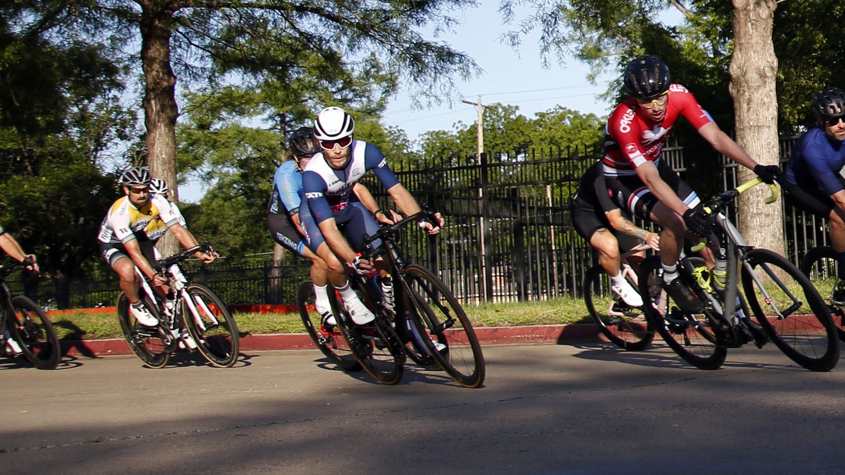 Cyclists compete during opening night for King Racing Group's cycling race season at Fair Park in Dallas on May 6, 2021.