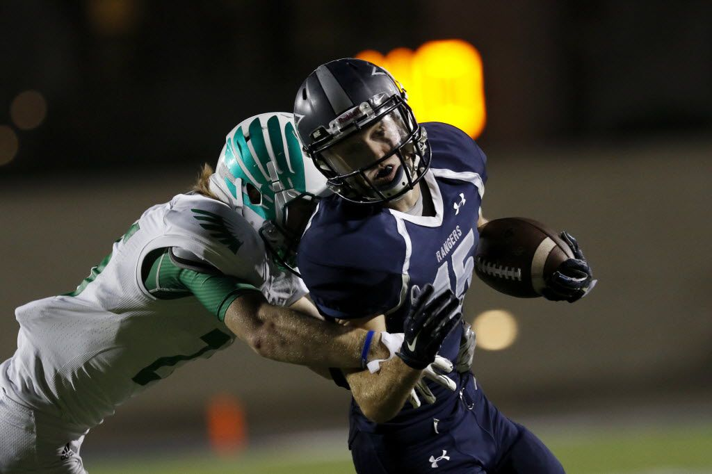 Frisco Lone Star Ranger's Coby Shelton reacts to being tackled by a Lake Dallas Falcons player during overtime as Lake Dallas faces Frisco Lone Star at Eagle Stadium in Allen on Friday, Dec. 11, 2015. The Frisco Lone Star Ranger's beat Lake Dallas Falcons 55-49. (Rachel Woolf/The Dallas Morning News)