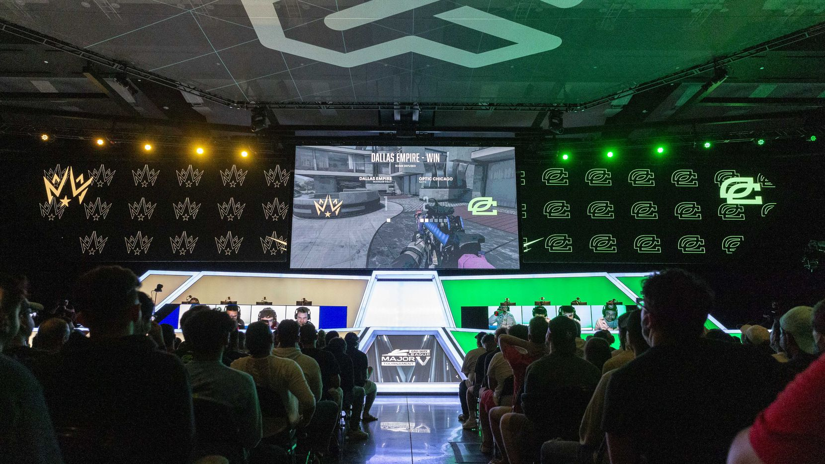Fans watch a match between Dallas Empire and Chicago OpTic during the Call of Duty League Major V tournament at Esports Stadium Arlington on Sunday, Aug. 1, 2021, in Arlington. Empire finished 4th in the tournament after a 3-1 loss to OpTic. (Elias Valverde II/The Dallas Morning News)