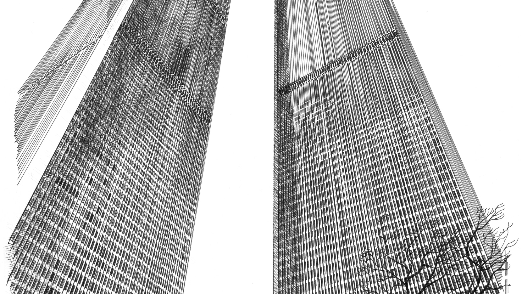 The late architectural illustrator Carlos Diniz drew this rendering of the World Trade Center Twin Towers in 1963.