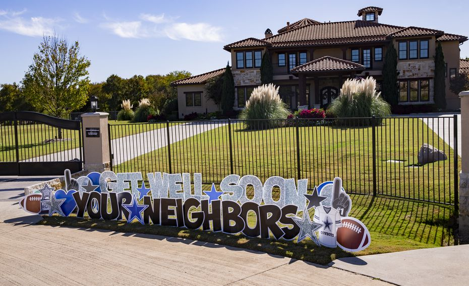 Get well signs placed outside of Dak Prescott's home in Prosper on Tuesday, Oct. 13, 2020. (Juan Figueroa/ The Dallas Morning News)