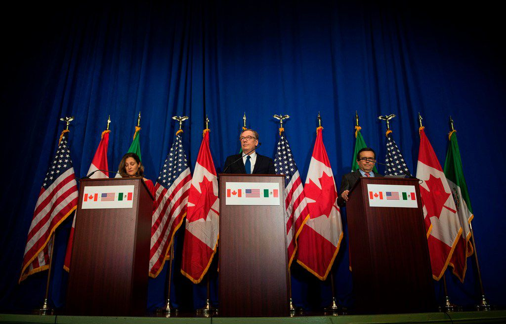 U.S. Trade Representative Robert Lighthizer (center), Canadian Foreign Minister Chrystia Freeland and Mexican Secretary of Economy Ildefonso Guajardo Villarreal hold  a press conference at the  conclusion of the fourth round of negotiations for a new North American Free Trade Agreement at the General Services Administration headquarters in Washington, D.C., on Oct. 17, 2017.