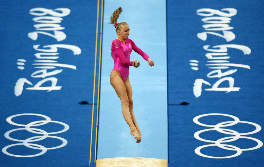 U.S. gymanst Nastia Liukin of Parker, Texas performs her vault in the Women's Individual All-Around at the National Indoor Stadium, Friday, August 15, 2008.