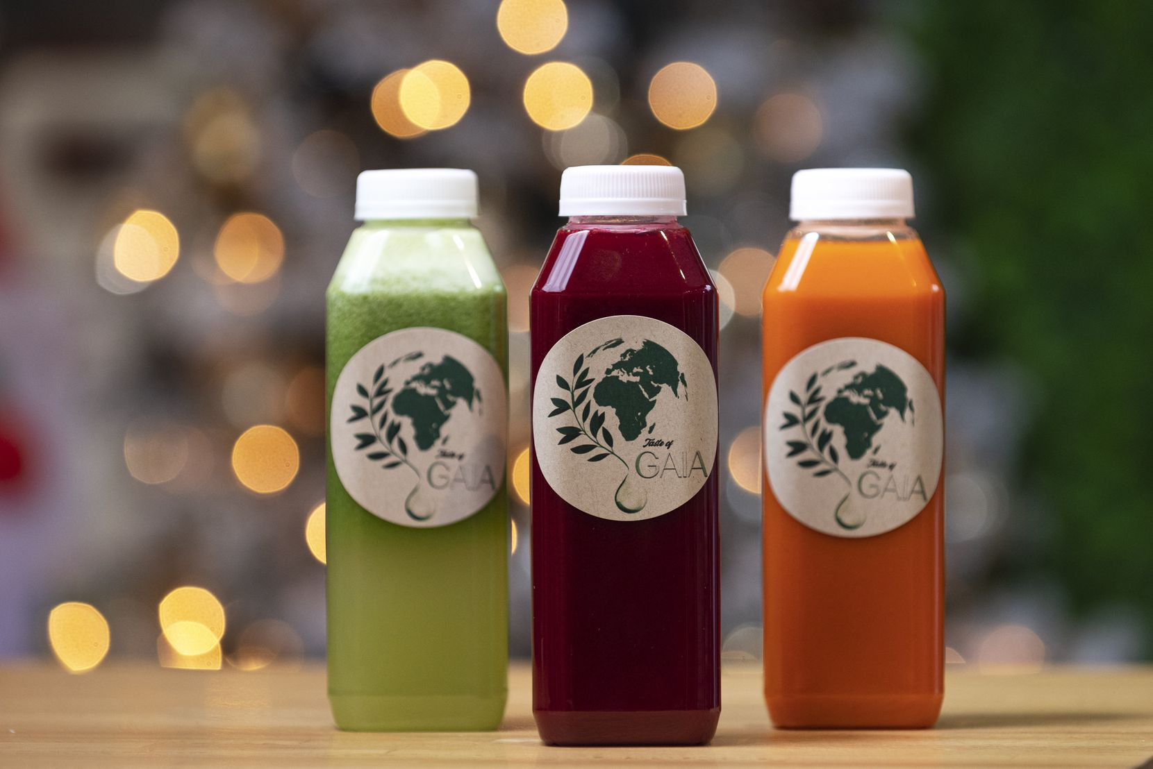 The Aphrodite, left, The Apollo and The Athena juice beverages from Taste of Gaia in downtown Dallas, on Wednesday, Dec. 31, 2020.