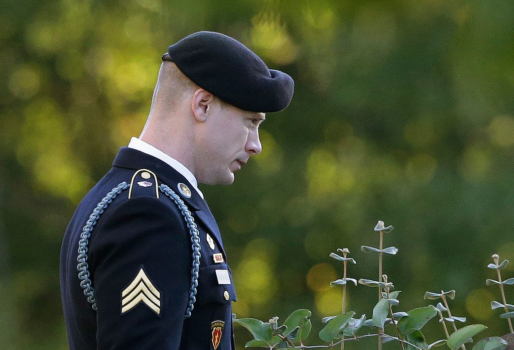 Army Sgt. Bowe Bergdahl leaves the Fort Bragg courtroom facility as the judge deliberates during a sentencing hearing at Fort Bragg, N.C., on Friday, Nov. 3.