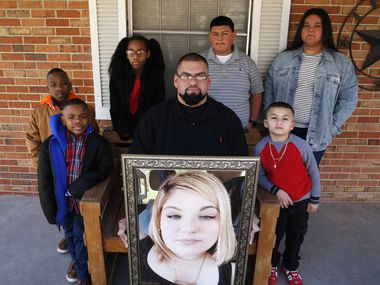 Since his mother, Cecilia, and his fiancee, Blanca Leon (in framed photo), died of COVID-19, Claudio Sanchez has been caring for his and Blanca's sons Jose Ortiz, 14, Daniel Sanchez, 6, Claudio's sister, Celeste, 18, and three cousins who had lived with his mother and aunt: Elijah Sanchez, 7, Izaeyah Burkley, 8, and Aaliyah Sanchez, 9.