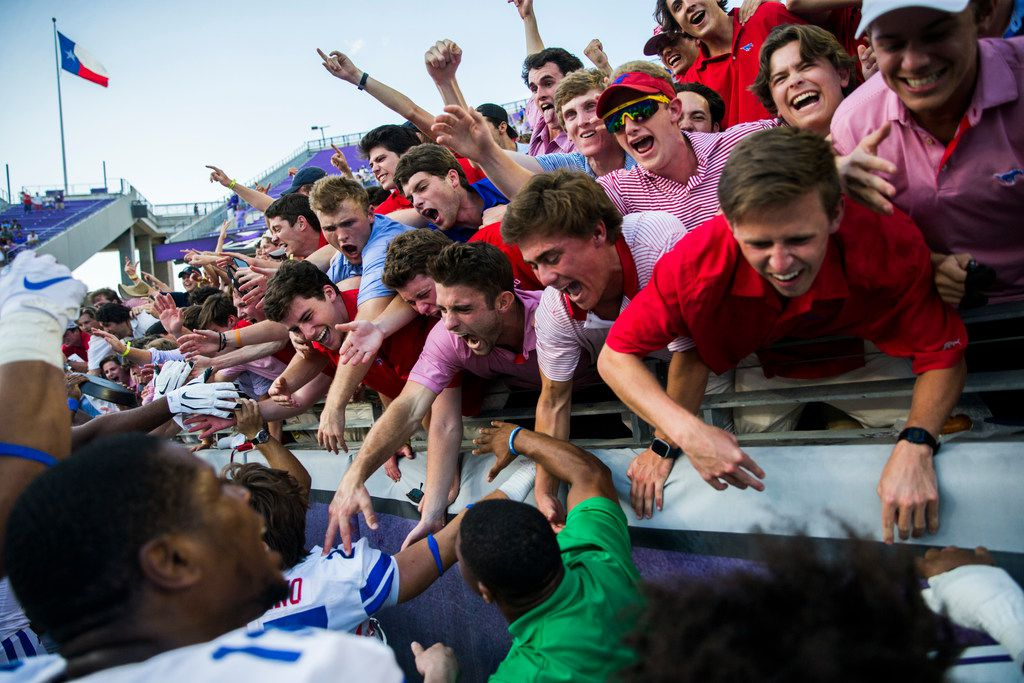 Southern Methodist Mustangs fans celebrate a 41-38 win over TCU Horned Frogs on Saturday, September 21, 2019 at Amon G. Carter Stadium in Fort Worth.
