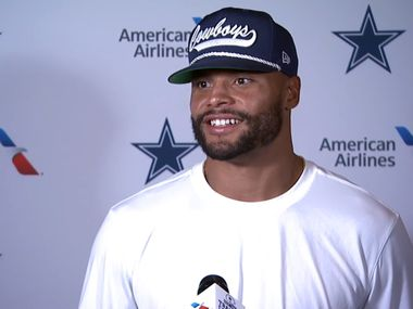 Dallas Cowboys quarterback Dak Prescott (4) smiles during a press conference conducted virtually on Wednesday, August 12, 2020.