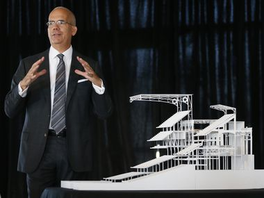 Bryan Trubey, who recently left HKS Architects, talks about Globe Life Field during a press conference at Globe Life Park in Arlington in 2017.
