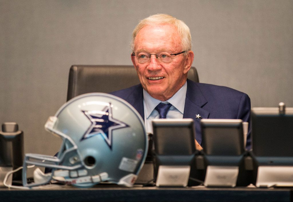 Dallas Cowboys owner Jerry Jones looks at the video board in the war room during round one of the NFL draft on Thursday, April 27, 2017 at The Star in Frisco, Texas.