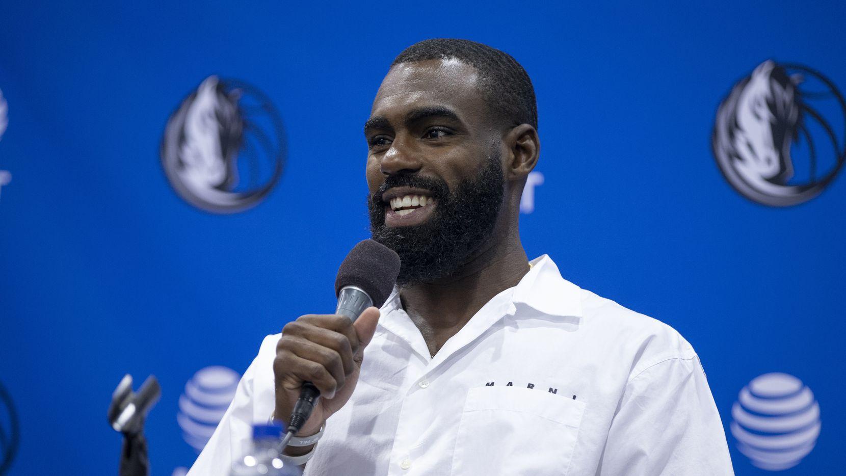 Dallas Mavericks guard Tim Hardaway Jr. speaks during a press conference in Dallas, Friday, August 27, 2021.