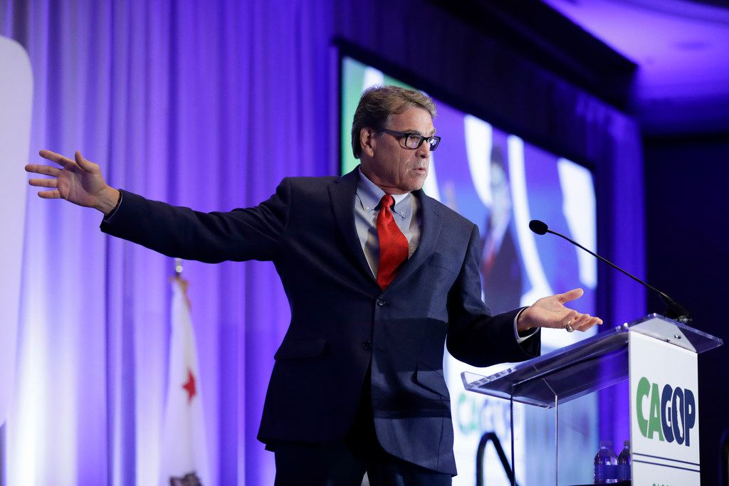 Former Texas Gov. and U.S. Energy Secretary Rick Perry speaks at the California GOP fall convention Friday, Sept. 6, 2019, in Indian Wells, Calif. (AP Photo/Chris Carlson)