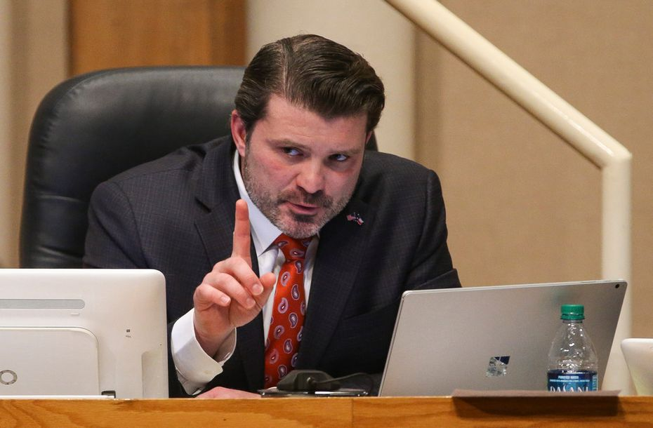 District 2 Commissioner J.J. Koch speaks during a meeting of The Dallas County Commissioners Court on Jan. 15 at the Dallas County Administration Building in Dallas.