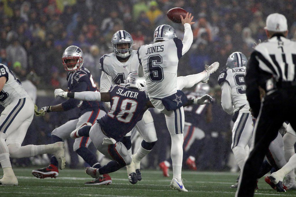 New England Patriots' Matthew Slater (18) blocks a punt by Dallas Cowboys punter Chris Jones (6) in the first half of an NFL football game, Sunday, Nov. 24, 2019, in Foxborough, Mass. (AP Photo/Elise Amendola)