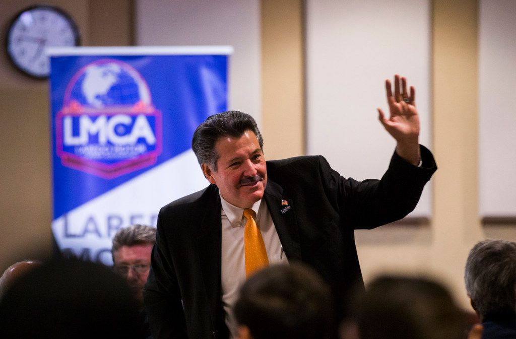 Pete Saenz, mayor of Laredo, speaks at a NAFTA update presentation hosted by the Laredo Motor Carriers Association on Jan. 18, 2018, at the IBC Bank Annex.