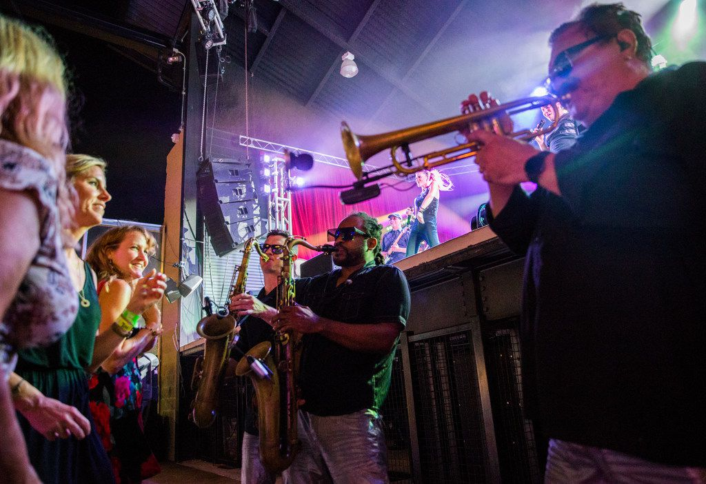 The horns section danced and weaved in and out of the crowd during the band's performance at Lava Cantina.