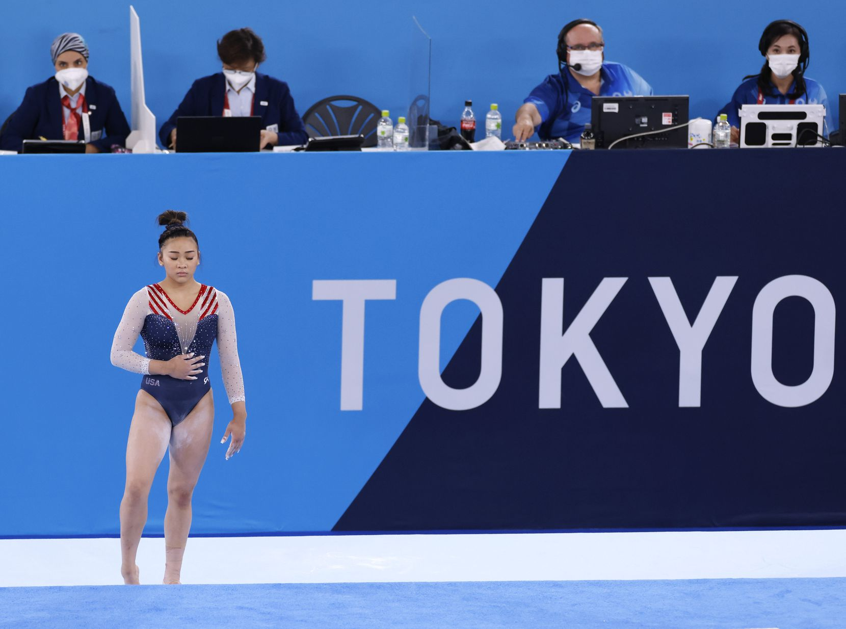 USA's Sunisa Lee prepares to perform her floor routine during the women's all-around final at the postponed 2020 Tokyo Olympics at Ariake Gymnastics Centre, on Thursday, July 29, 2021, in Tokyo, Japan. (Vernon Bryant/The Dallas Morning News)