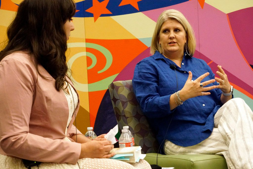 Jessica Alvarado (left) interviews Heresy author Melissa Lenhardt during the Summer in the City discussion as part of the Dallas Festival of Books at the Dallas Public Library on June 1, 2019.