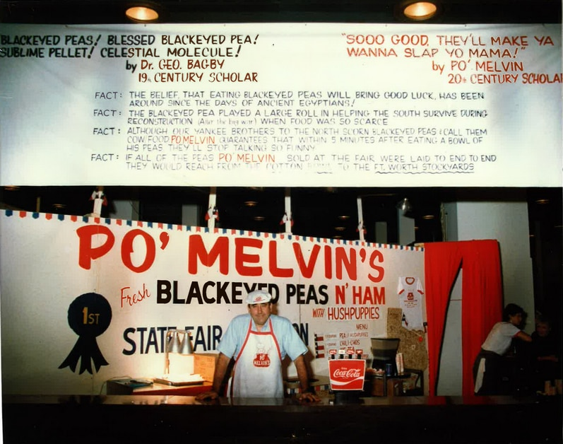 The elder Melvin LeMane, pictured here at the State Fair of Texas, sold his black-eyed peas at the fair for years before opening his own restaurant in Irving. His son will serve free black-eyed peas at Po Melvin's in an effort to start 2021 off with some much-needed good luck.