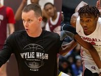 Wylie head basketball coach Stephen Pearce (left) and Kimball point guard Arterio Morris.