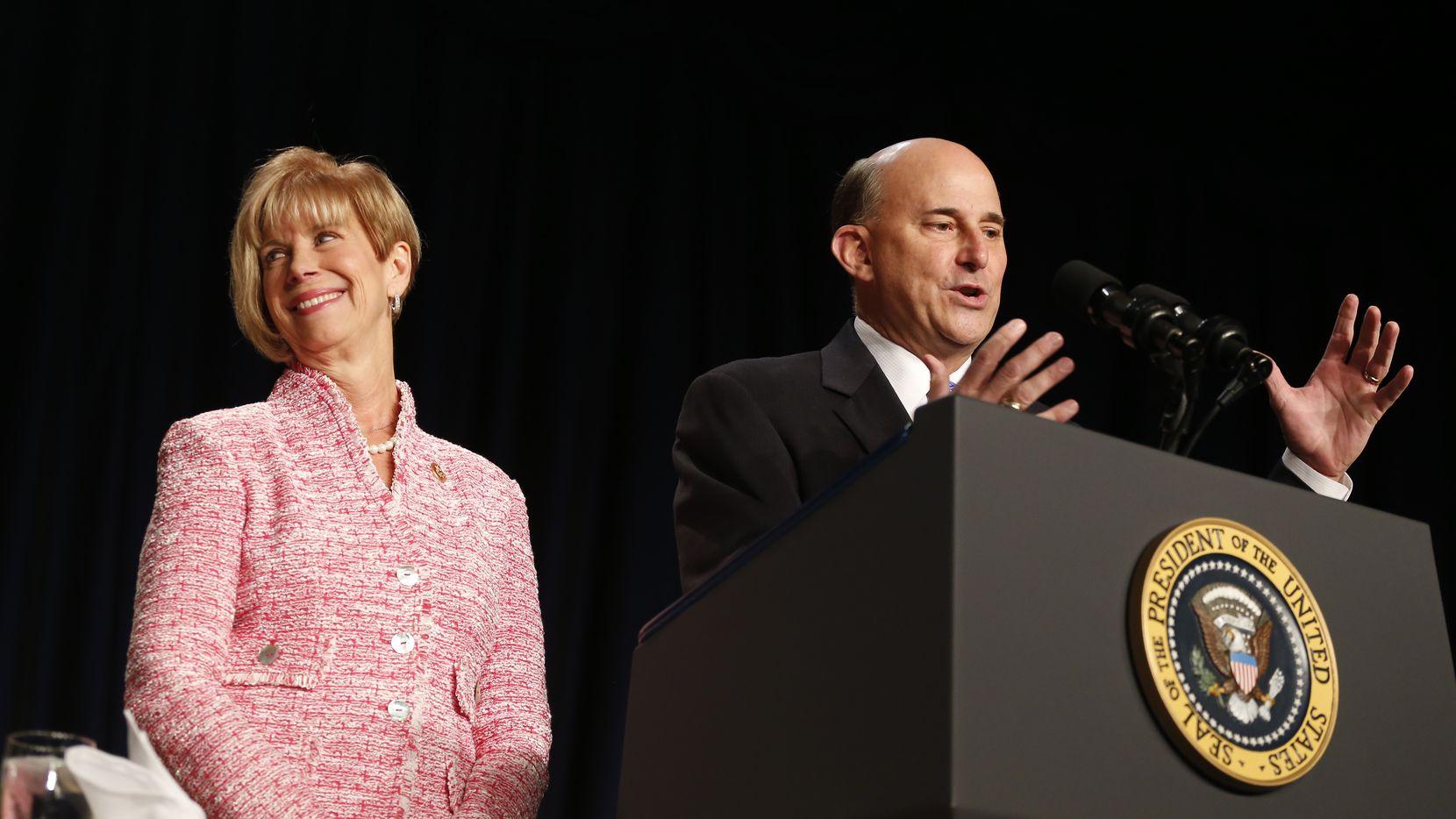 Rep. Louie Gohmert, R-Texas, and Rep. Janice Hahn, D-Calif., speak before President Barack Obama takes the podium at the National Prayer Breakfast in Washington, Thursday, Feb. 6, 2014. (AP Photo/Charles Dharapak)