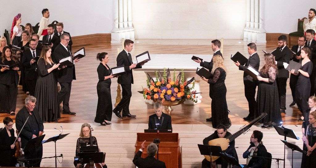 Members of the Orpheus Chamber Singers and instrumentalists perform at Cathedral Guadalupe on Sept. 29, 2019 in Dallas.