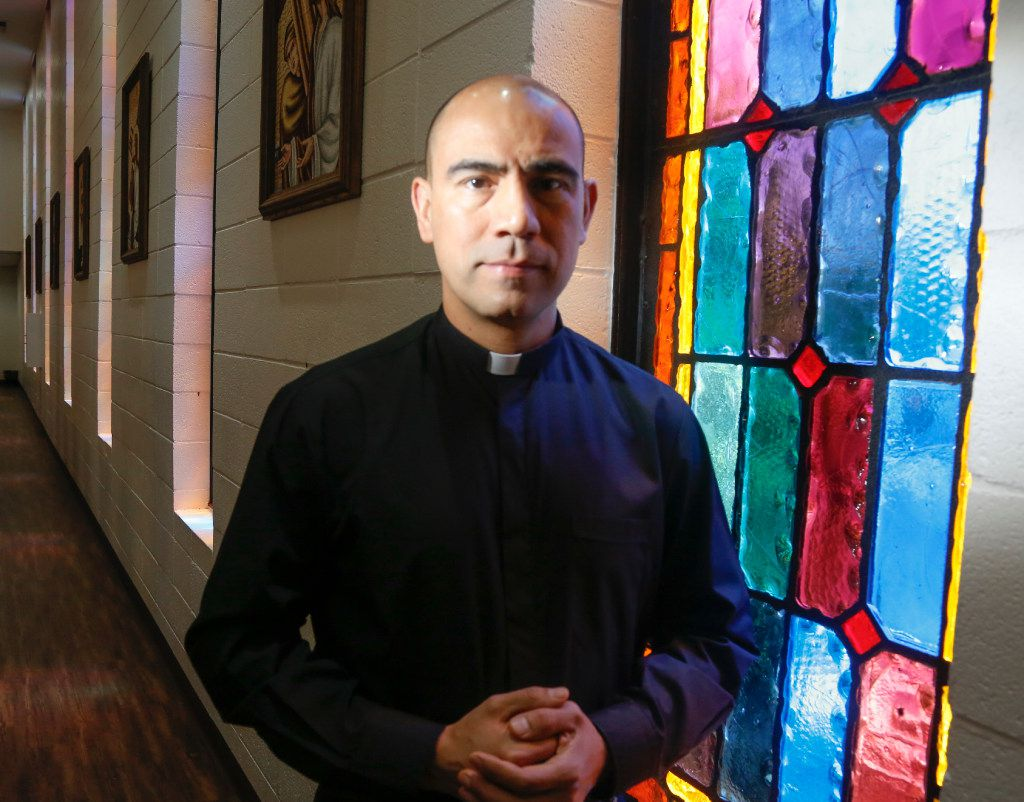 Father Jesus Belmontes of San Juan Diego Catholic Church in Dallas, photographed in his church's sanctuary Wednesday July 12, 2017. He has joined other religious leaders in expressing his concerns about SB4. (Ron Baselice/ The Dallas Morning News)