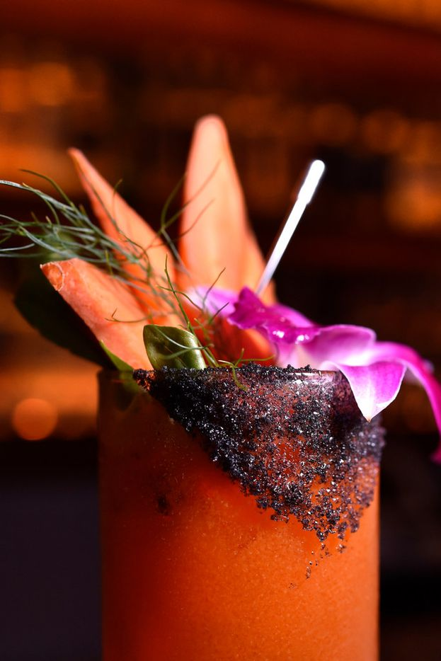 The Black Bunny, a cocktail at new Dallas speakasy-style bar La Viuda Negra, is made with Espina Negra mezcal, carrot juice, lime and simple syrup.