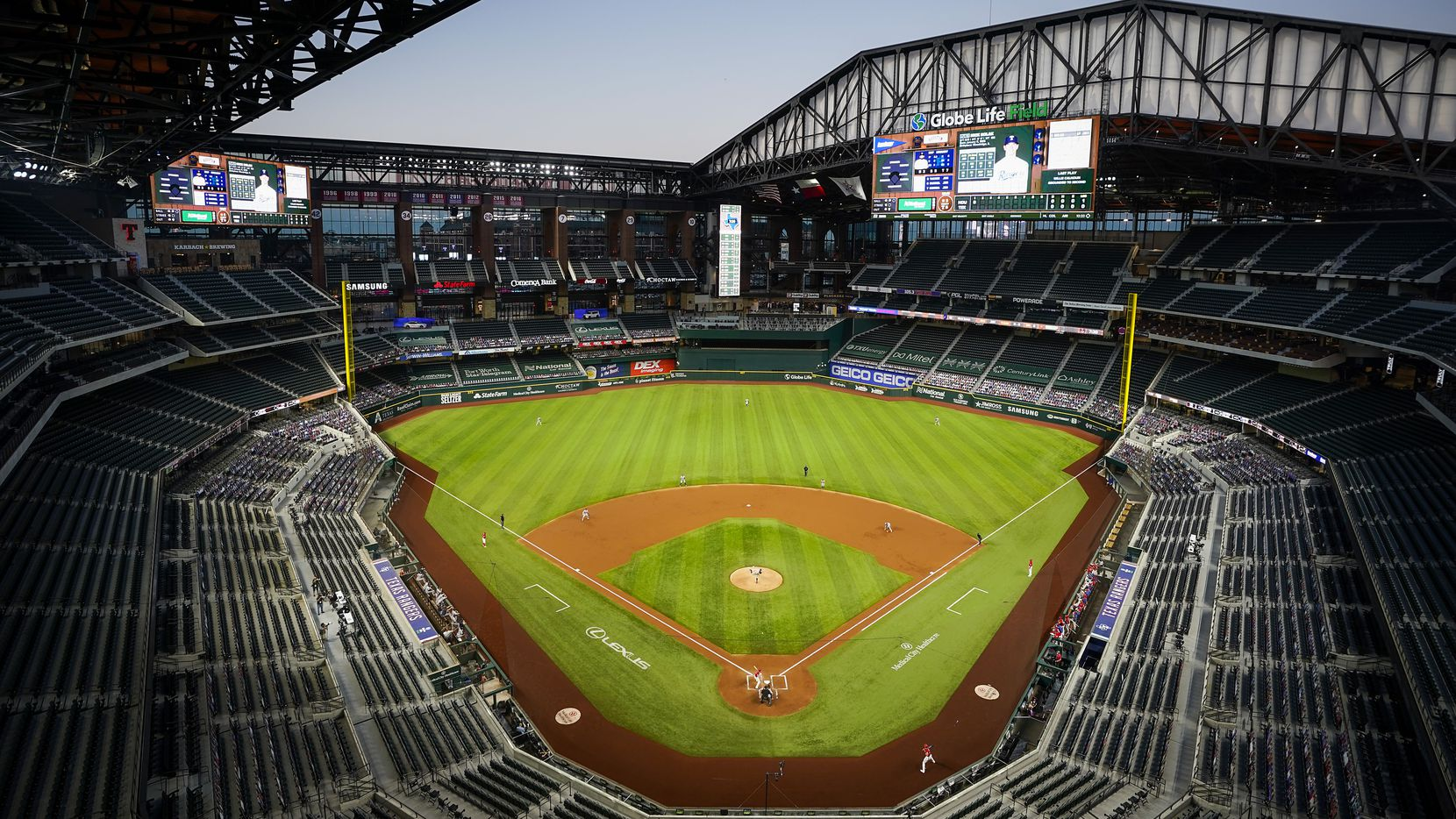 An overall view of the stadium with the roof as the Texas Rangers host the Houston Astros during the first inning at Globe Life Field on Friday, Sept. 25, 2020.