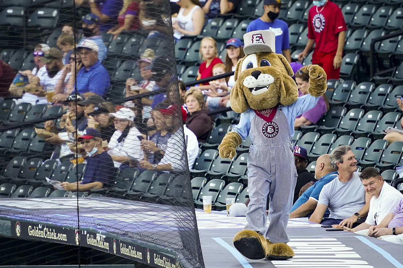 Round Rock Express mascot Spike encourages the crowd at Dell Diamond before the season opener against the Oklahoma City Dodgers on Thursday, May 6, 2021, in Round Rock, Texas.