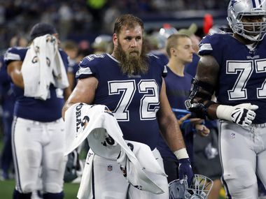 Dallas Cowboys center Travis Frederick (72) and his teammates get ready to go back on the field late in the fourth quarter for a possible comeback against the Minnesota Vikings at AT&T Stadium in Arlington, Texas, Sunday, November 10, 2019.