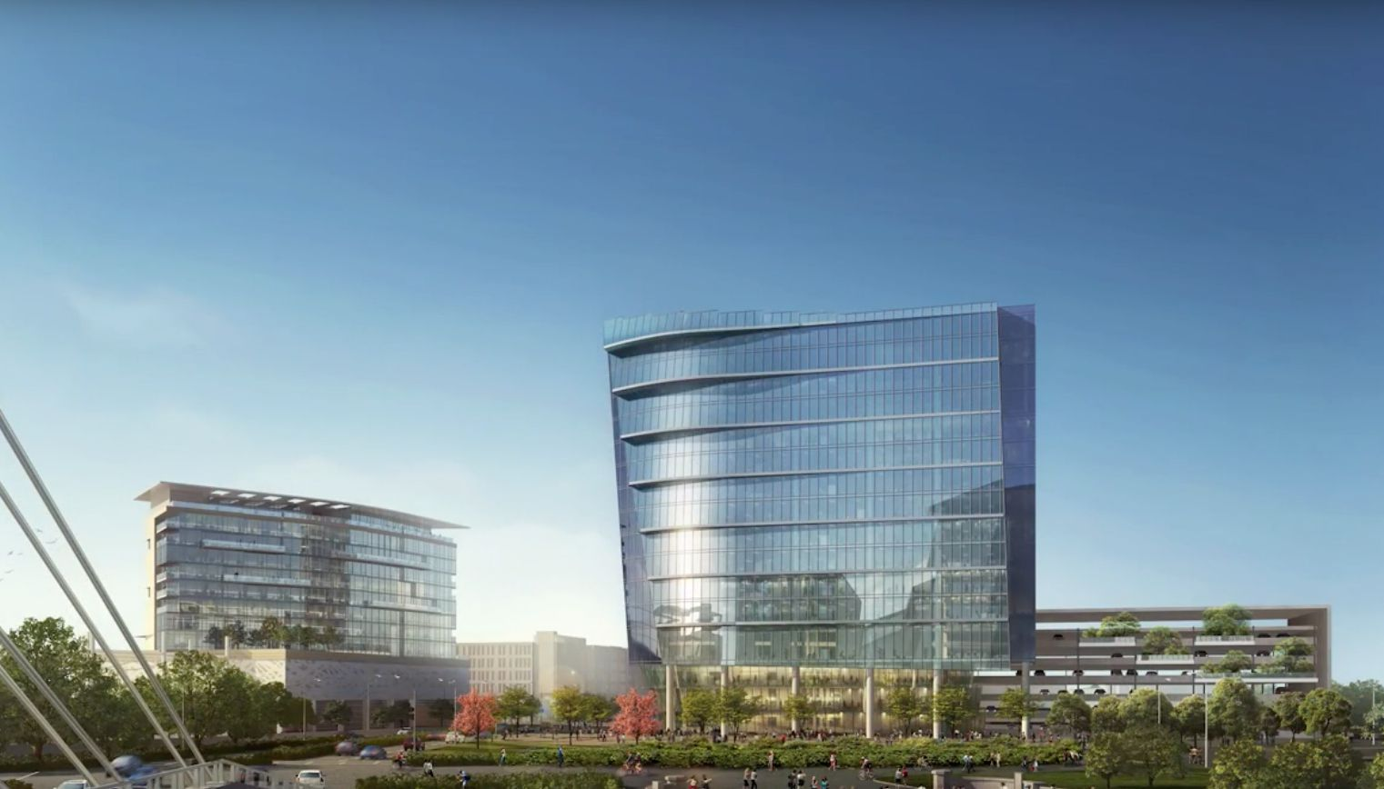 A 2014 plan for the site included an office tower an a hotel across Singleton Boulevard.