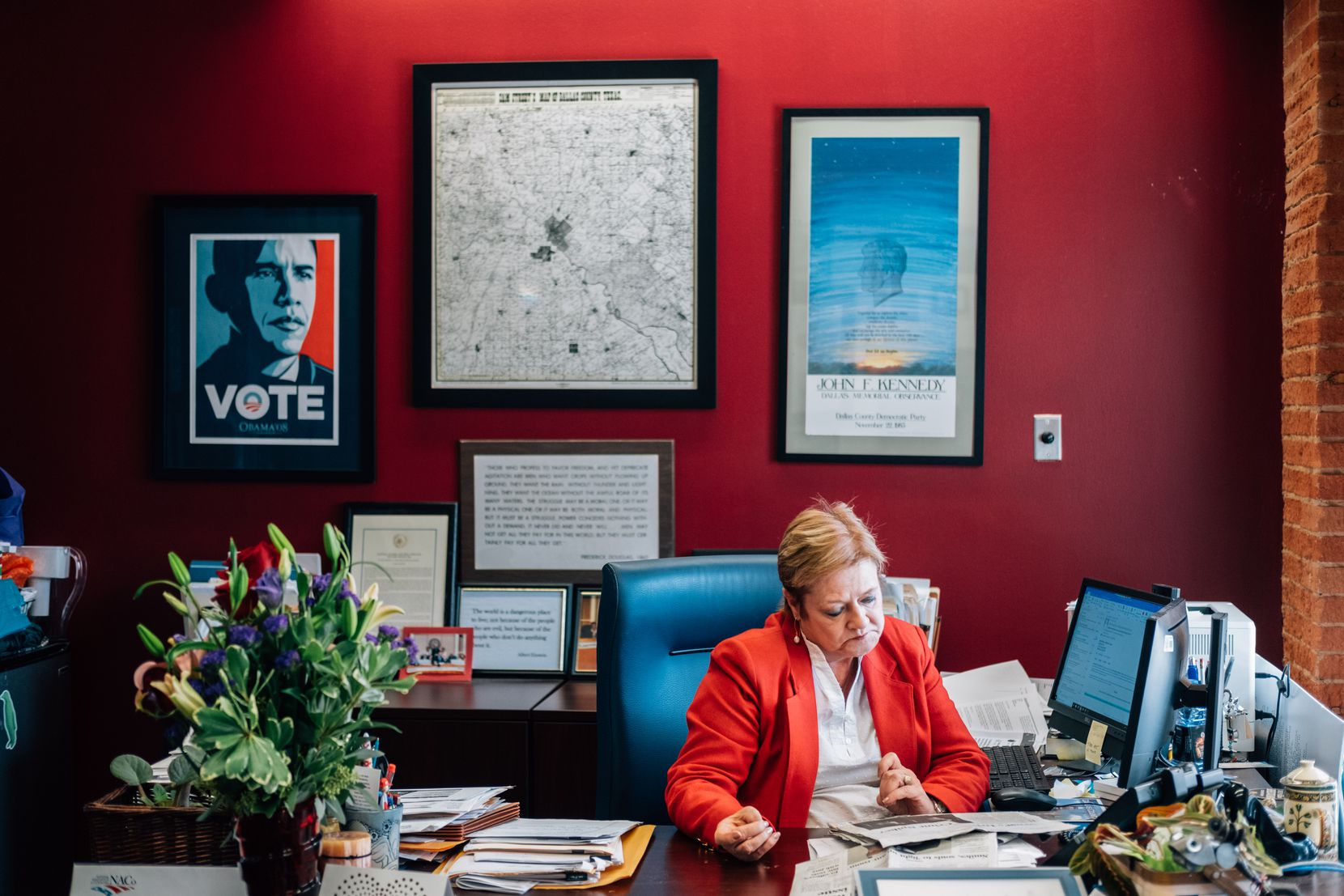 Theresa Daniel sits at her desk in her office as Dallas County Commissioner on February 14, 2020.  (Hunter Lacey/Special Contributor)