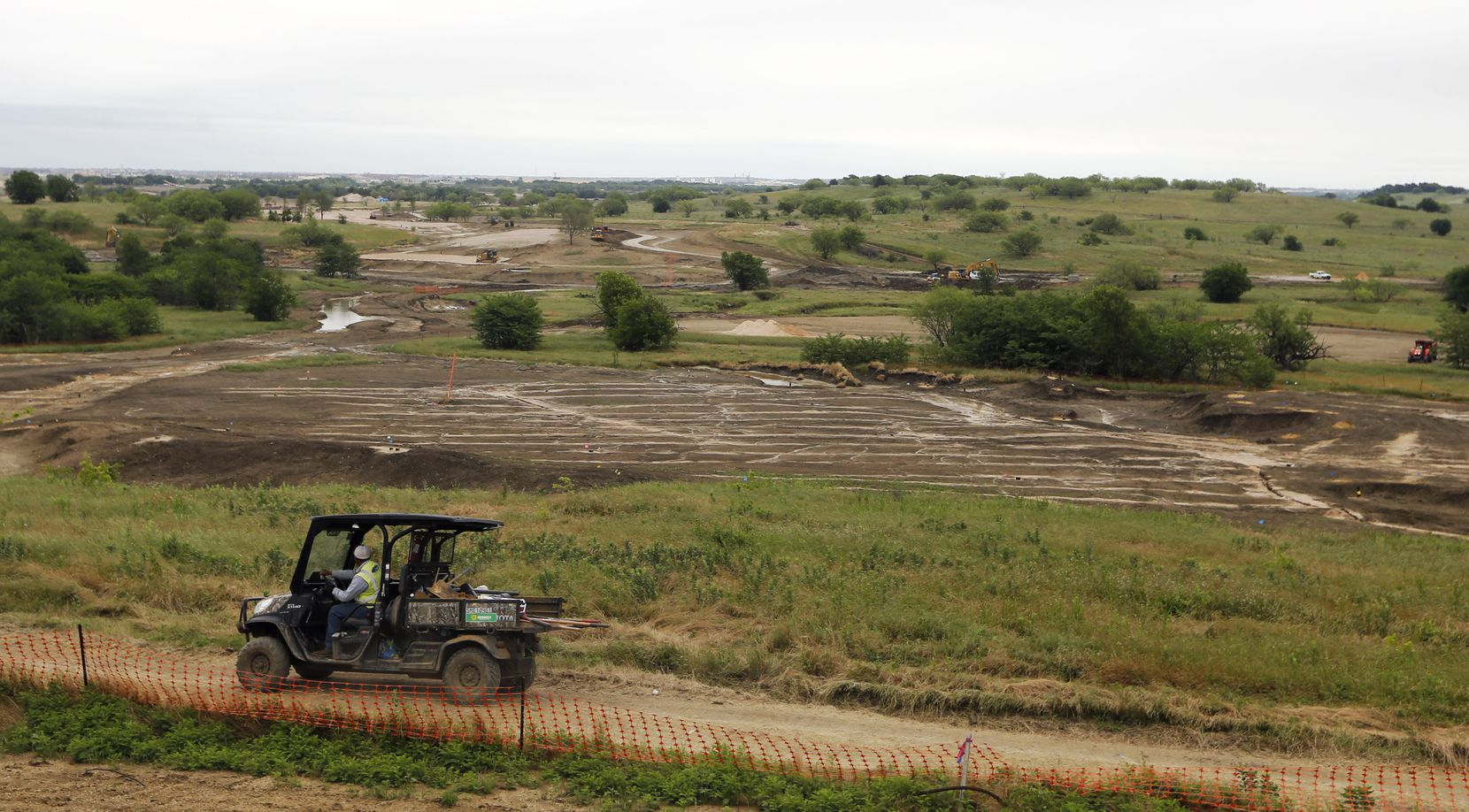 View of hole 3 of the East Course designed by Gil Hanse at PGA Frisco in Frisco, Texas, on Wednesday, May 20, 2020. The $520 million project is a mixed-use development that will be home to the PGA of America headquarters and two championship golf courses.