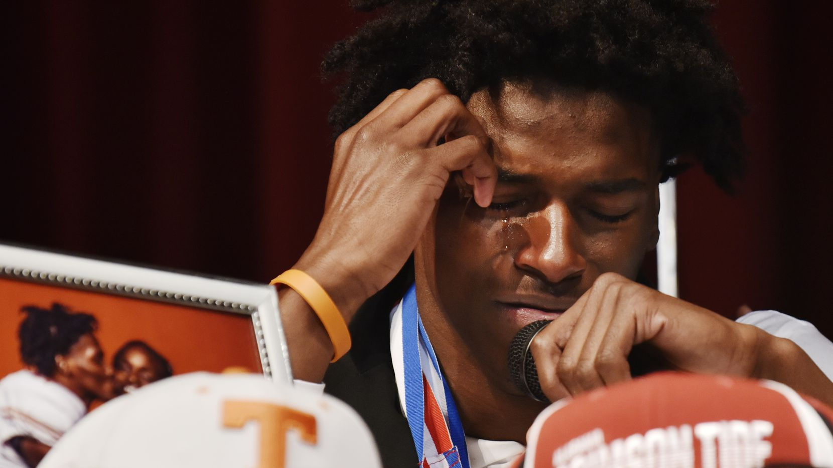 Duncanville cornerback Ennis Rakestraw, Jr., begins to cry as he speaks about his family and why he chose Missouri over other schools during National Signing Day, Wednesday morning Feb. 5, 2020 in Duncanville.