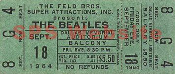 A balcony ticket to see the Beatles at their 1964 Dallas concert cost only $5.50.