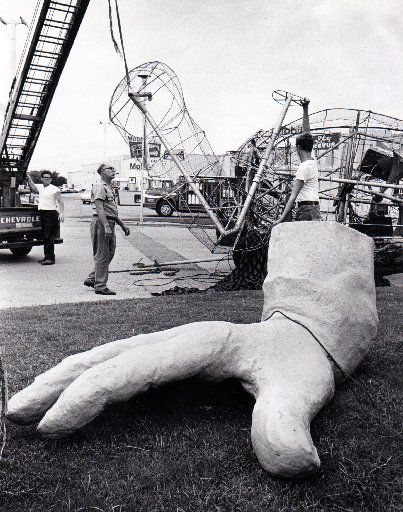 File photo of Big Tex being dismantled at the end of the 1970 State Fair season.