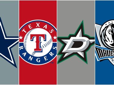 The logos for the Dallas Cowboys, Texas Rangers, Dallas Stars and Dallas Mavericks.