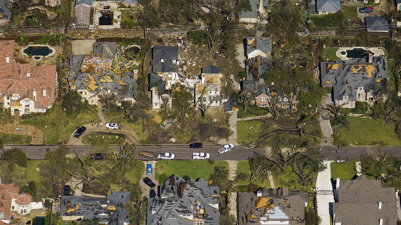Damaged homes just south of Royal Lane and just west of Hillcrest Road is seen in aerial view of tornado damage on Monday, Oct. 21, 2019, in Dallas.