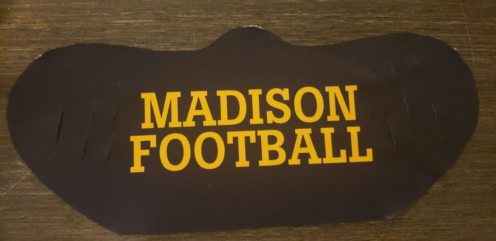 A mask that Madison has purchased for its athletes to wear while not actively exercising.