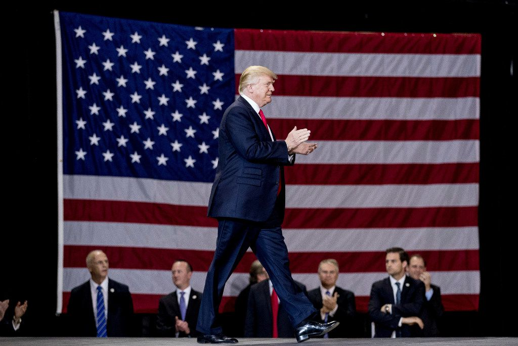 In this March 20, 2017, file photo, President Donald Trump arrives to speak at a rally at the Kentucky Exposition Center in Louisville, Ky. (AP Photo/Andrew Harnik, File)