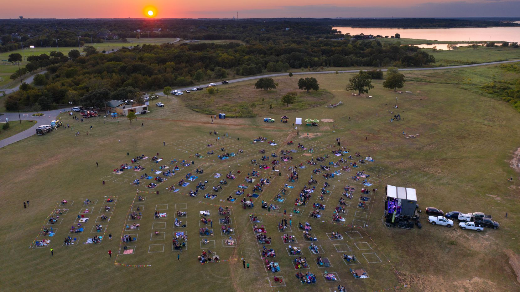 """Grapevine's upcoming Sunset Live! concerts will feature """"social squares"""" to promote social distancing."""