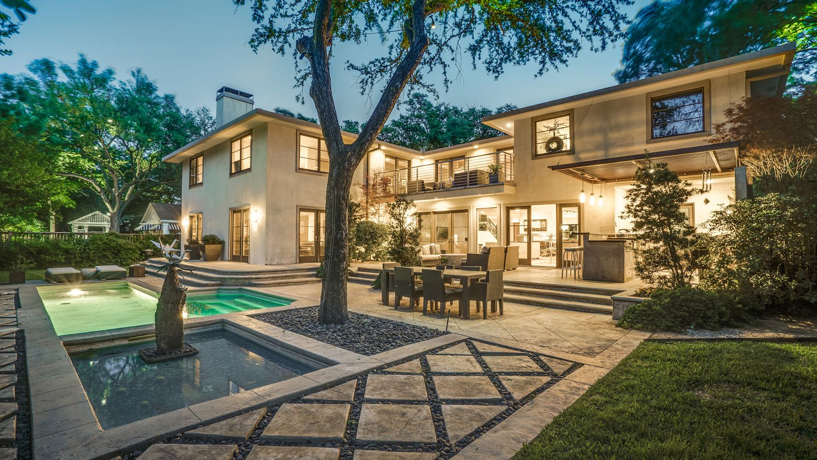 The recently updated home at 5539 Montrose Drive has a California-style pool with greenbelt views.