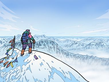 A digital illustration of tenor Nathan Granner as expedition leader Rob Hall on top of Mount Everest.