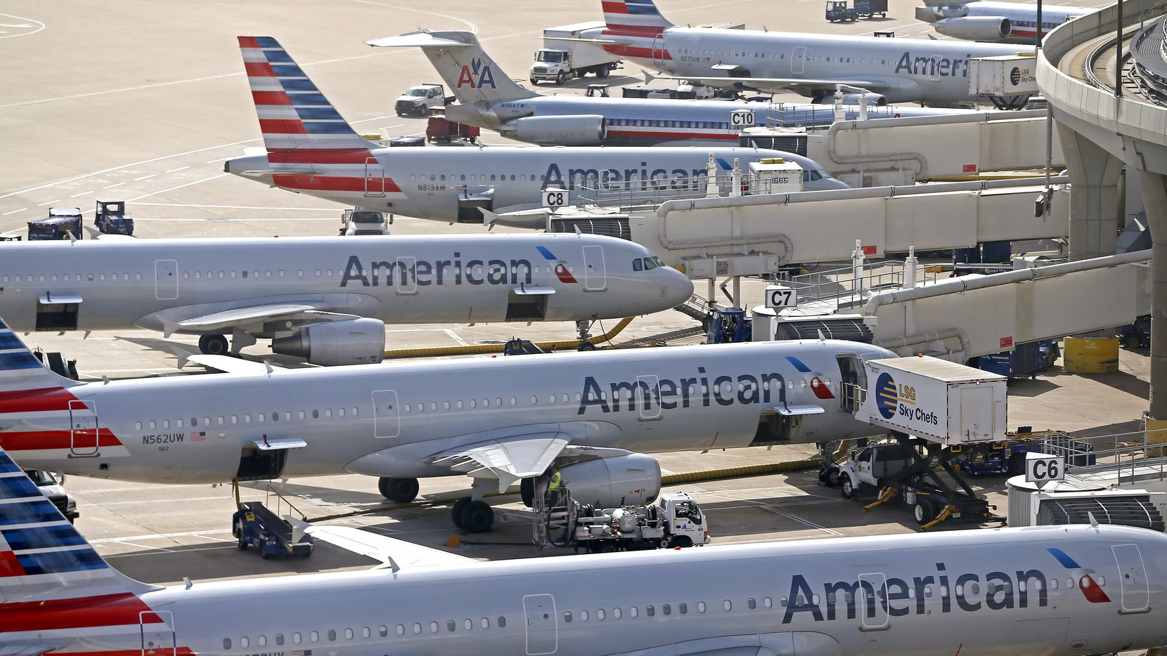 A line of American Airline airplanes at gates at Dallas/Fort Worth International Airport in DFW Airport, Texas, Friday, Aug. 18, 2017. (Jae S. Lee/The Dallas Morning News)