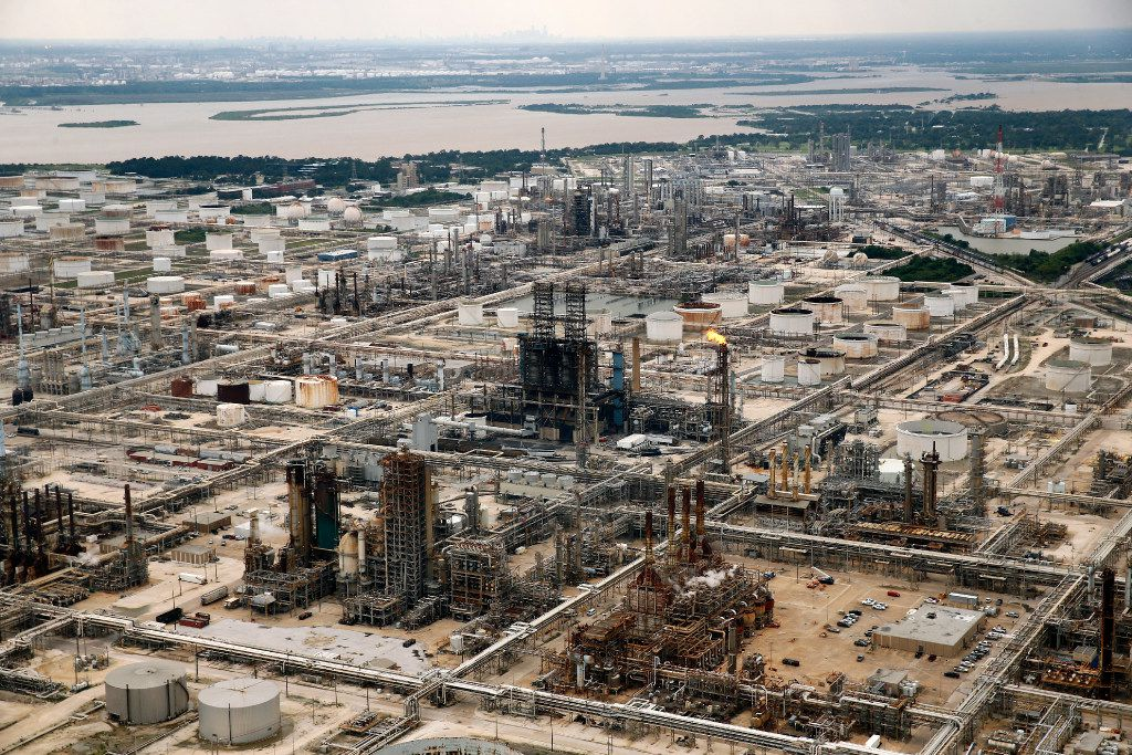 Exxon Mobile's refinery in Baytown, Texas, is pictured following Hurricane Harvey, Wednesday, August 30, 2017. (Tom Fox/The Dallas Morning News)