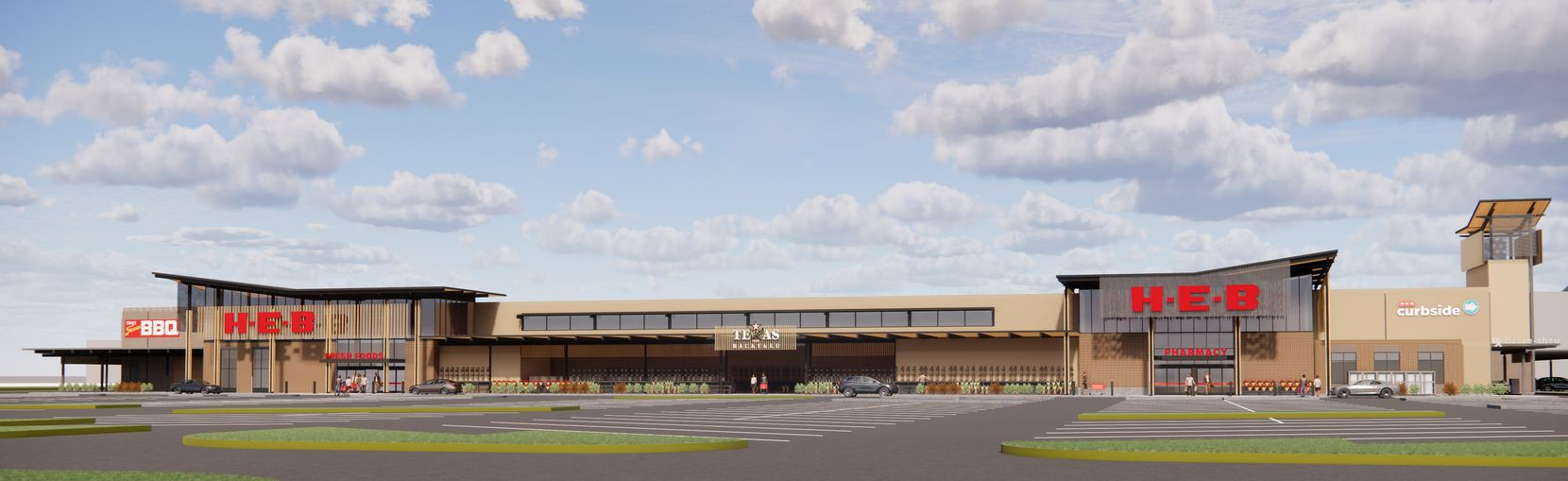 Rendering of the H-E-B store in Frisco that's scheduled to open in fall 2022 on the northeast corner of Legacy Drive and Main Street.